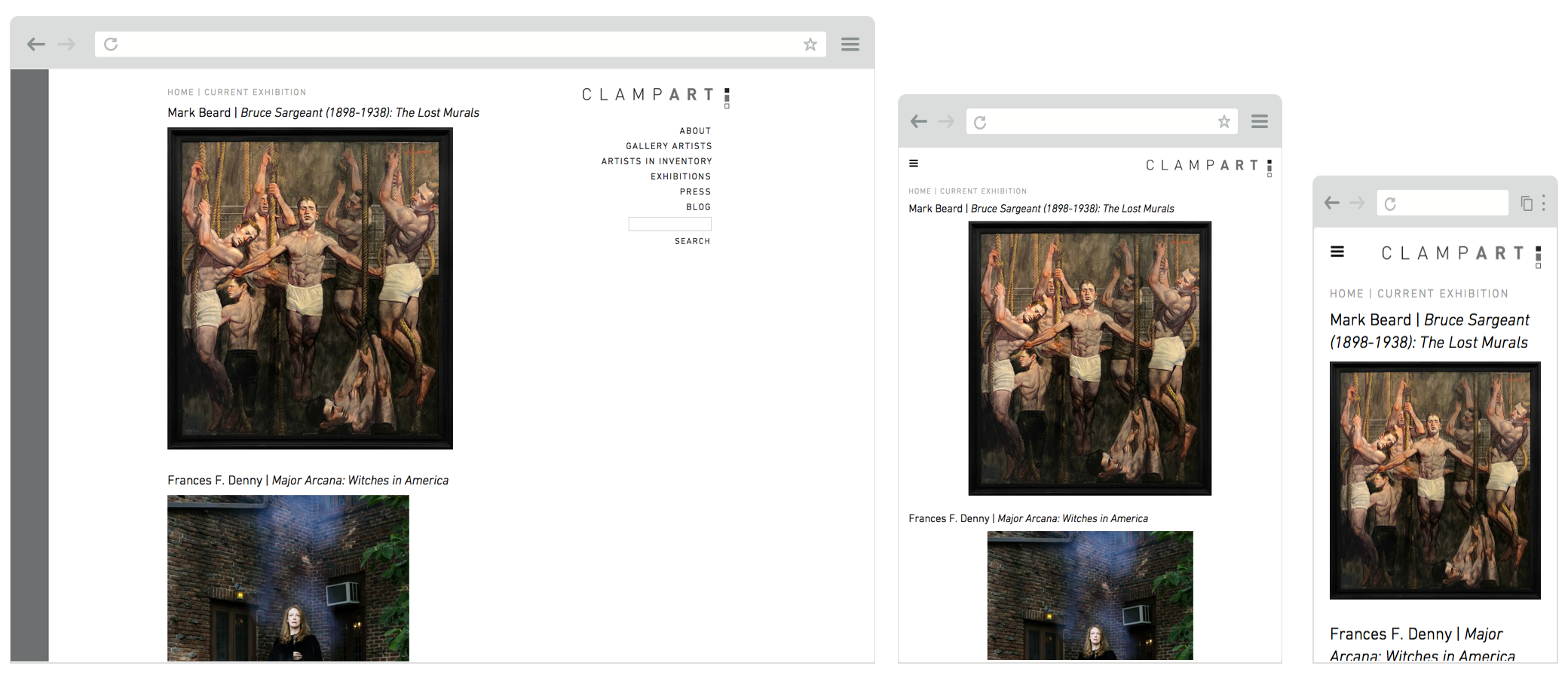 Screenshot of clampart.com website on desktop, tablet and mobile screens