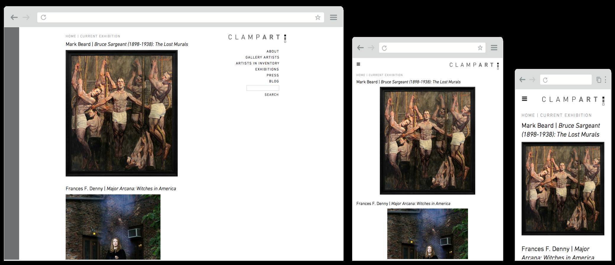 Screenshot of clampart.com website on desktop, tablet and mobile screens
