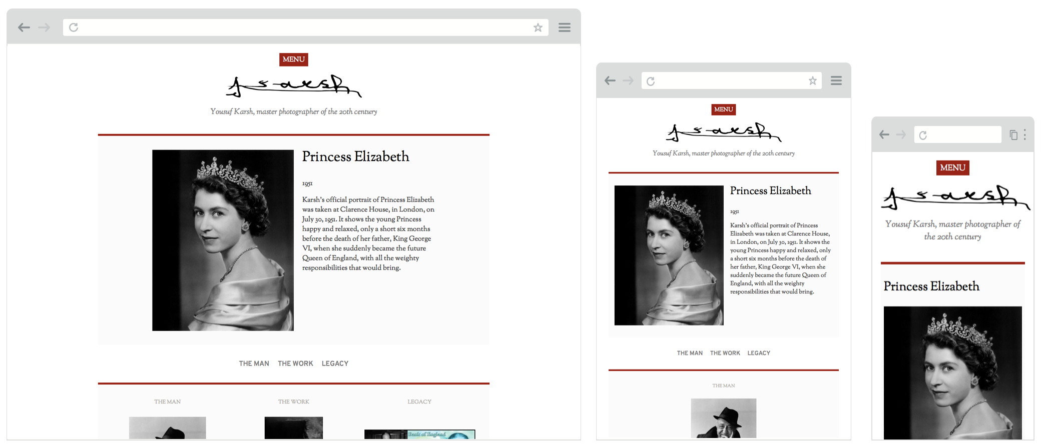 Screenshot of karsh.org website on desktop, tablet and mobile screens