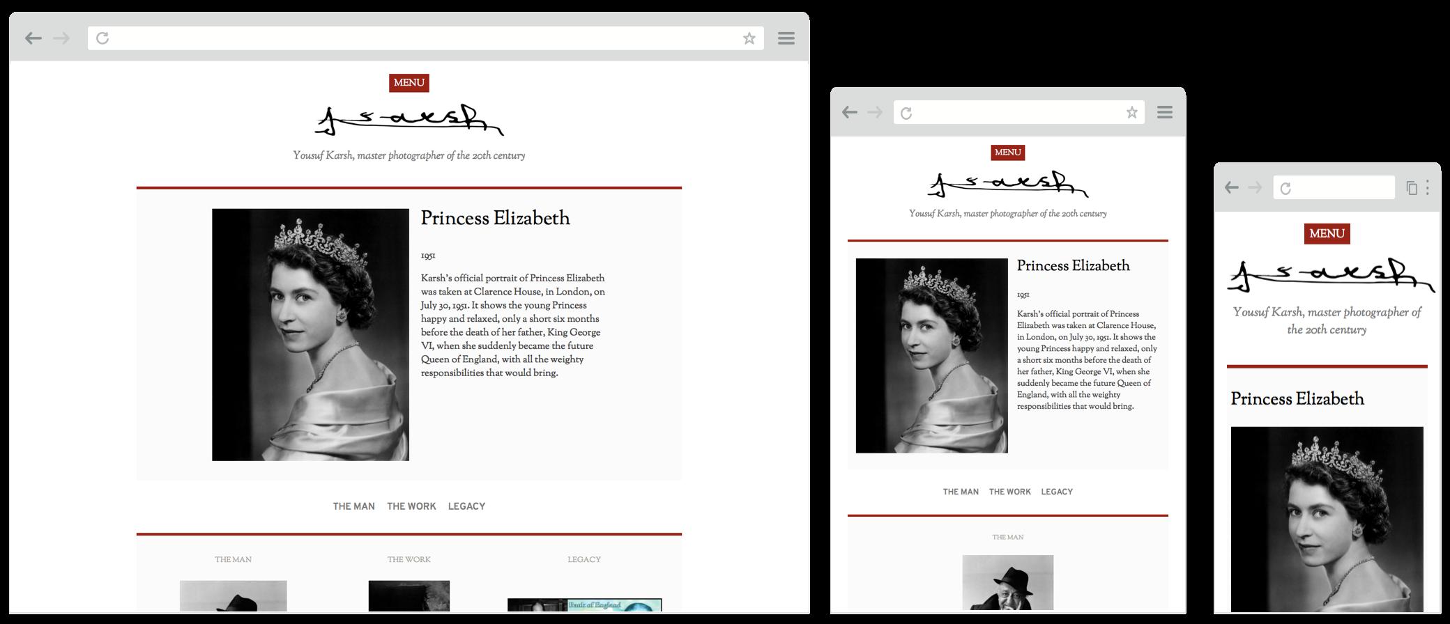 Screenshot of karsh.org website on desktop, tablet and mobile screens