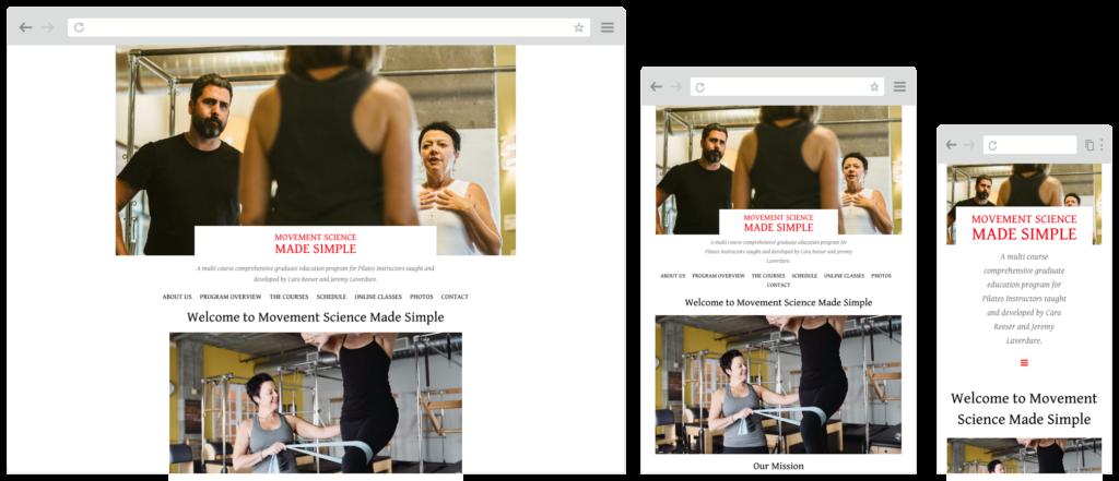 Screenshot of movementsciencemadesimple.com website on desktop, tablet and mobile screens