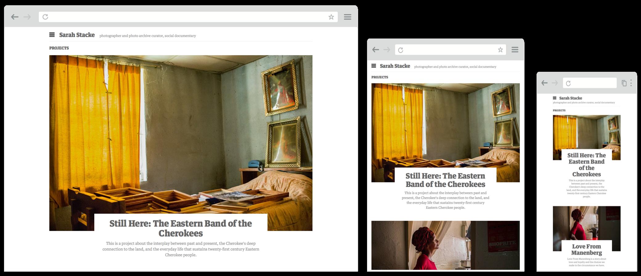 Screenshot of sarahstacke.com website on desktop, tablet and mobile screens