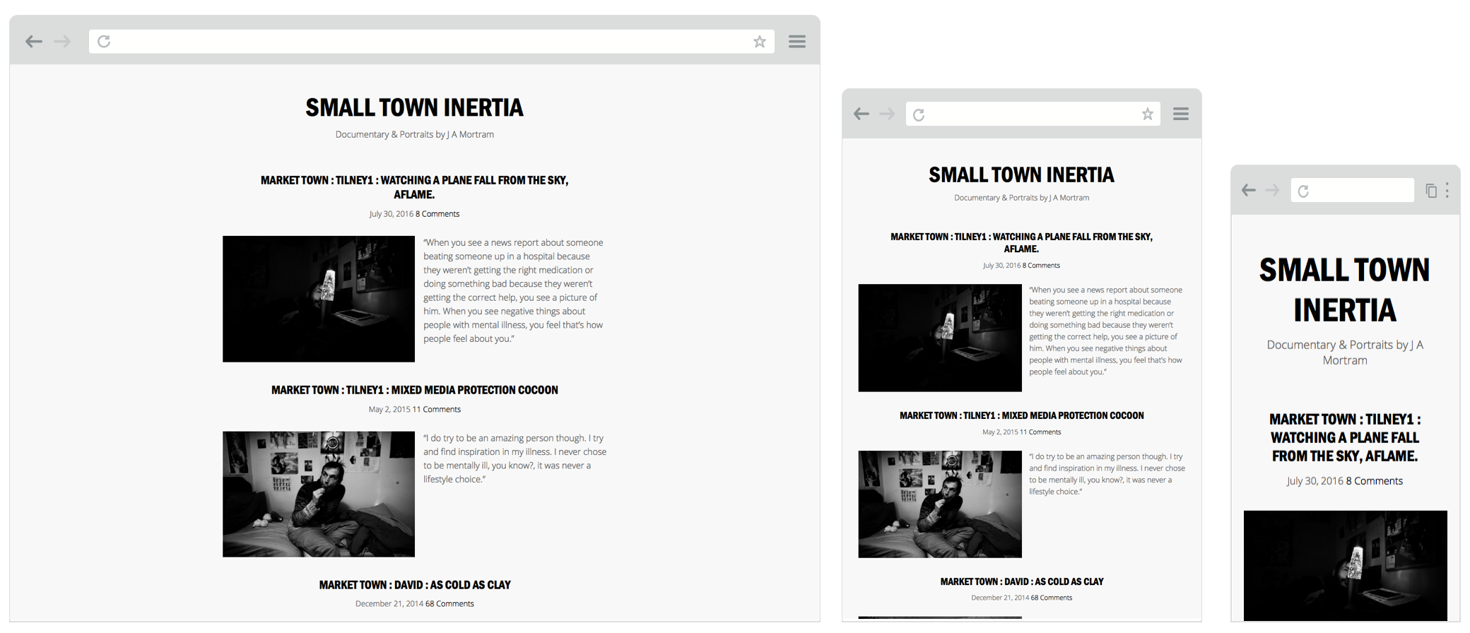 Screenshot of The J A Mortram WordPress Theme in use on smalltowninertia.co.uk on desktop, tablet and mobile screens