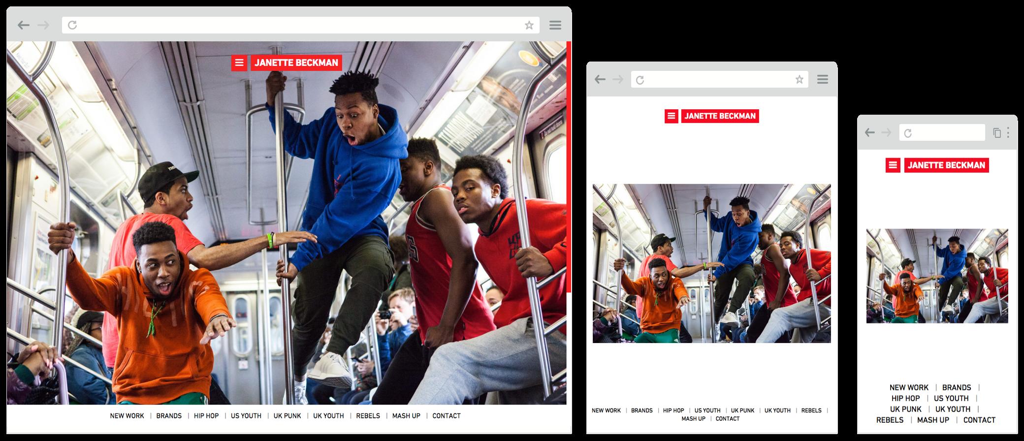 Screenshot of janettebeckman.com website on desktop, tablet and mobile screens