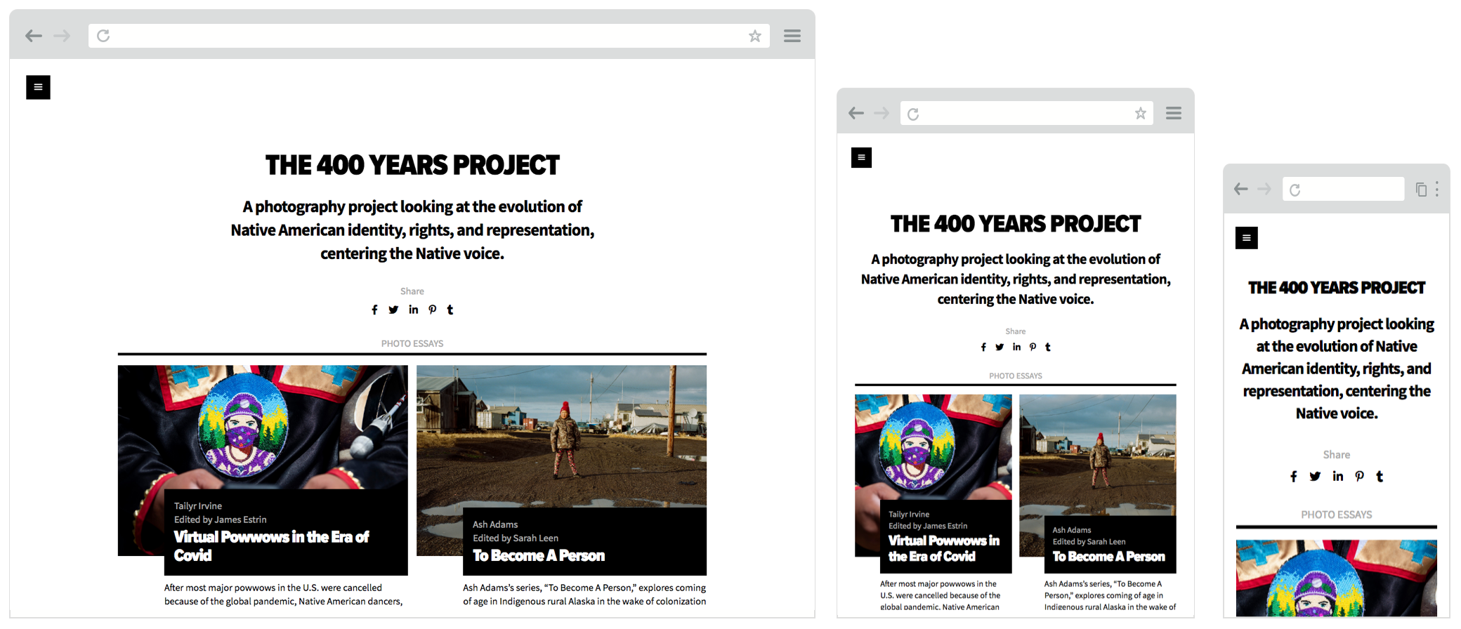Screenshot of 400yearsproject.org website on desktop, tablet and mobile screens