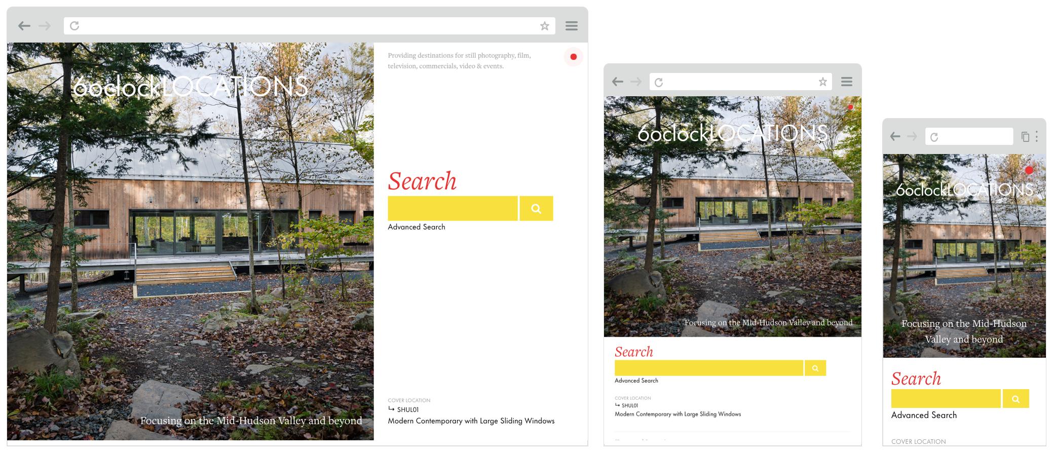 Screenshot of 6oclocklocations.com website on desktop, tablet and mobile screens